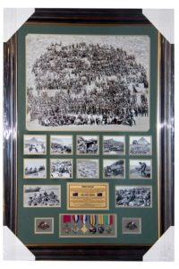 Anzac 8 Medals Frame Brown Gold Frame